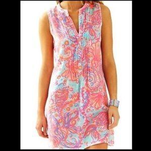 Lilly Pulitzer Sarasota Linen Fish Dress Sz XS